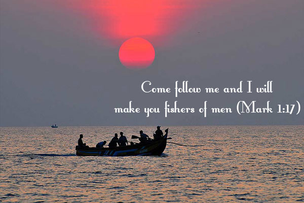 "Verse Image: He said to them, ""Follow me, and I will turn you into fishers of people."" (Matthew 4:19)"