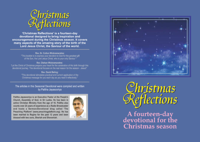 Christmas Reflections - A 14 Day Devotional for the Christmas Season. Available on Amazon now.