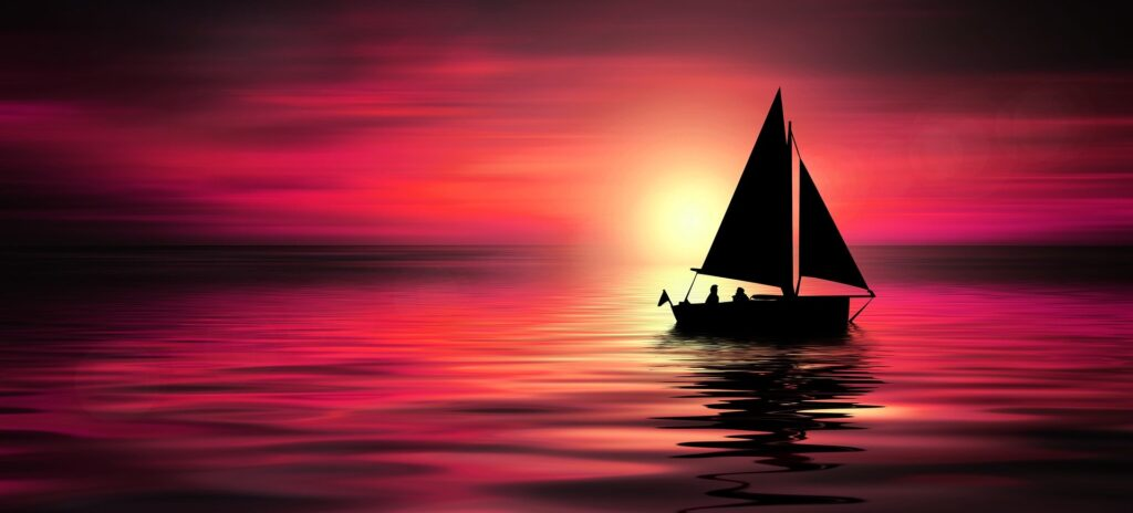 A scene of a sailing boat in calm waters to show that God can calm the storms in our life.
